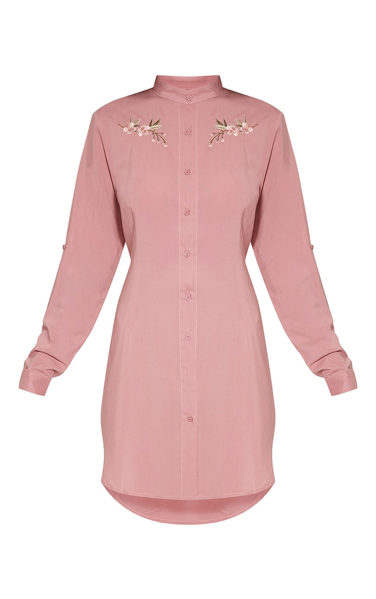 Isla Dusty Pink Floral Embroidered Shirt Dress 3