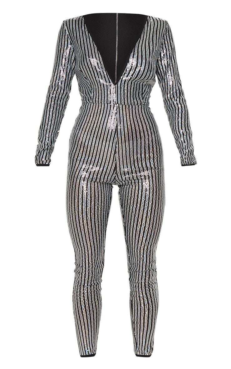 Black Sequin Stripe Mesh Long Sleeve Jumpsuit 3