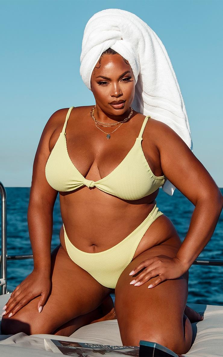 Plus Sage Green Crinkle Knot Front Plunge Bikini Top 1
