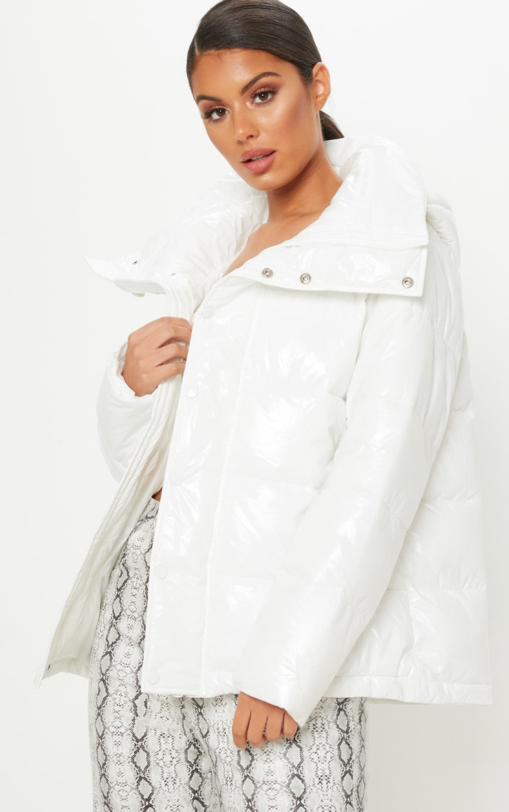 White High Shine Oversized Hooded Puffer