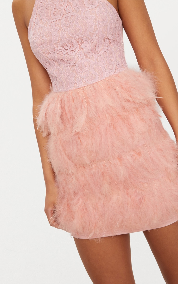 Dusty Pink High Neck Lace Top Feather Skirt Bodycon Dress