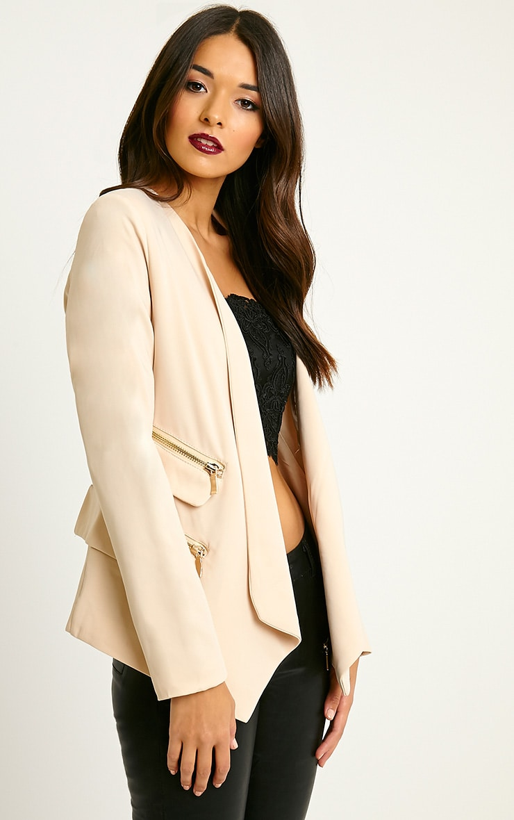 Carlina Beige Zip Pocket Blazer 4