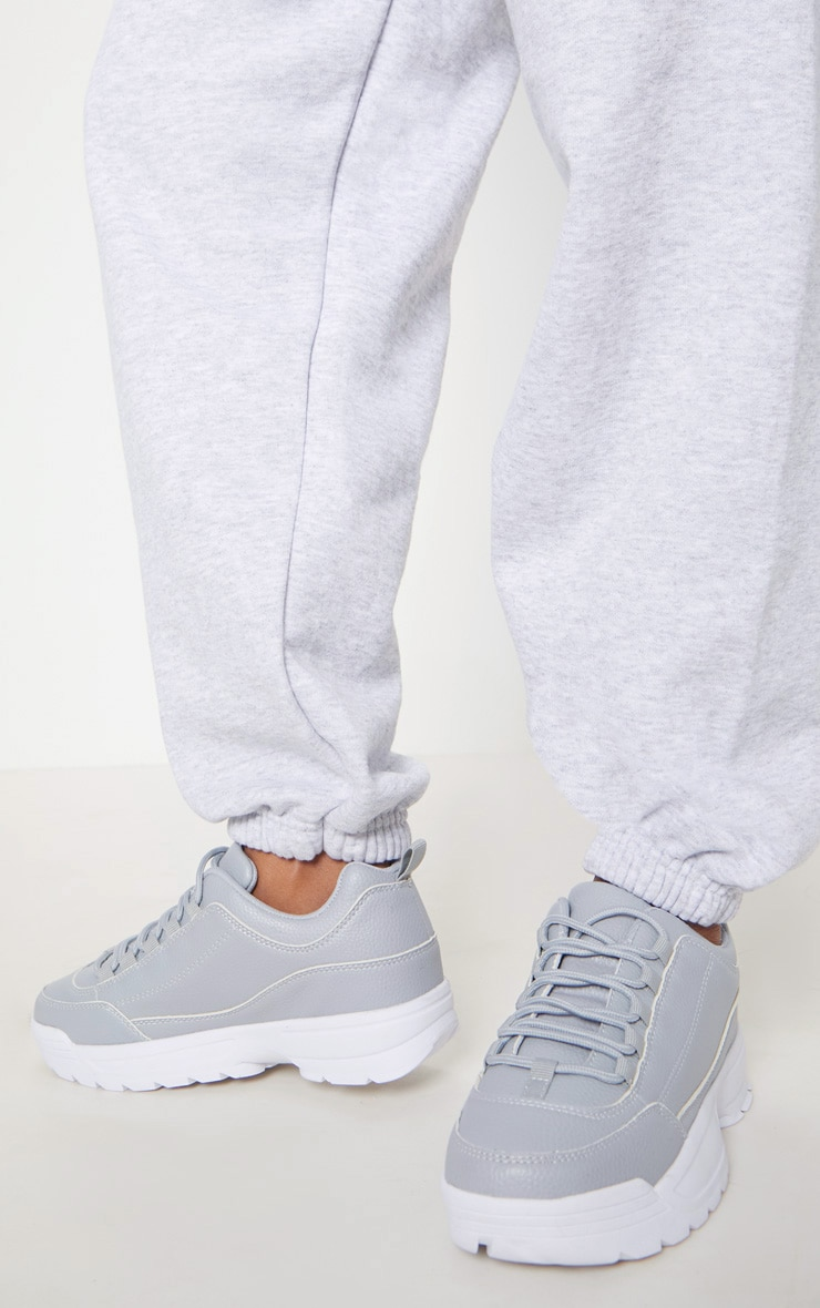 Grey Chunky Cleated Sole Sneakers