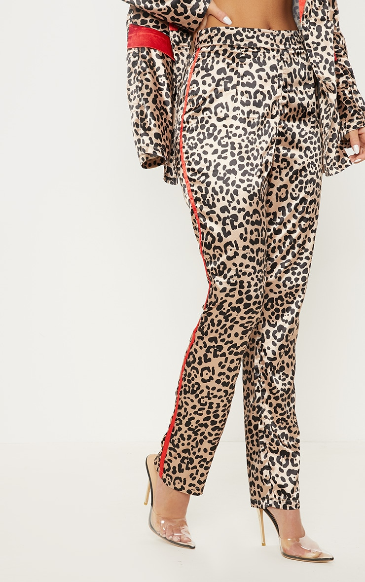 Brown Leopard Print Suit Pants 2