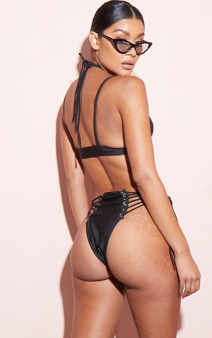 Black Strappy Eyelet Bikini Top 2
