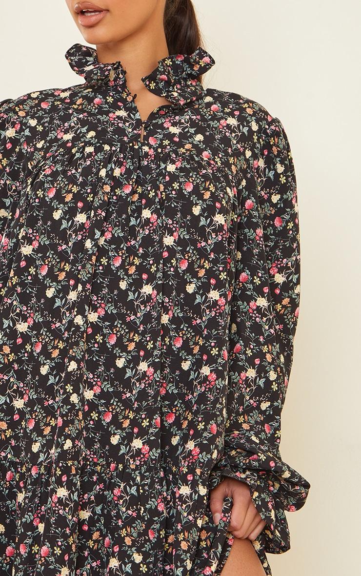 Black Floral Print High Neck Frill Detail Smock Dress 4