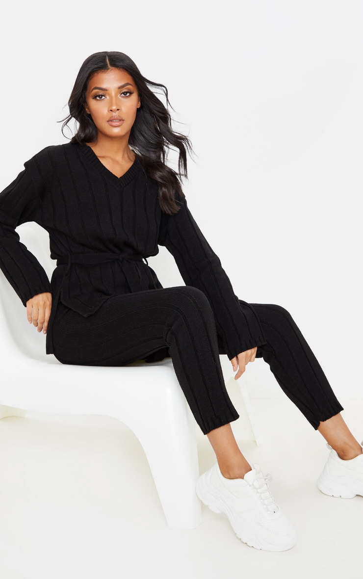 Black Belted Longline Sweater And Legging Lounge Set 4