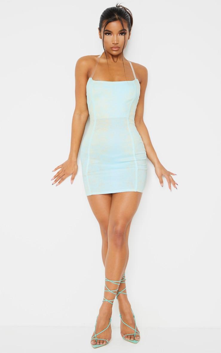 Blue Croc Print Binded Detail Clear Strap Bodycon Dress 3