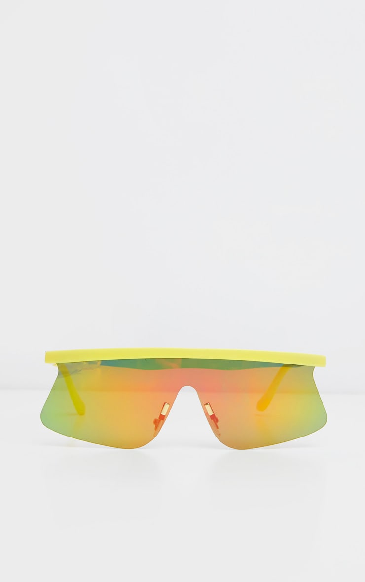 Yellow Flat Top Revo Sporty Sunglasses      2