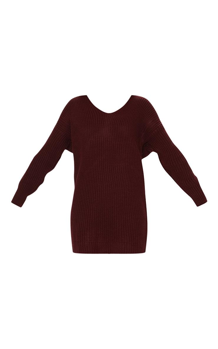 Burgundy Knitted V Neck Twist Detail Sweater Dress 3