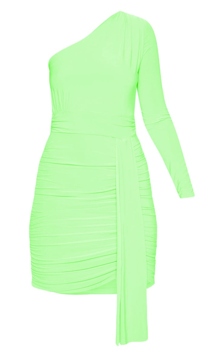 Neon Lime Slinky One Shoulder Drape Detail Bodycon Dress 3