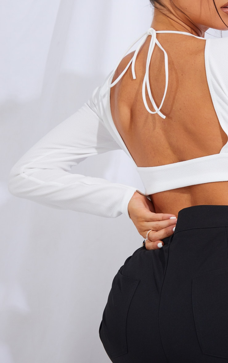 White Crepe Backless Long Sleeve Crop Top 4