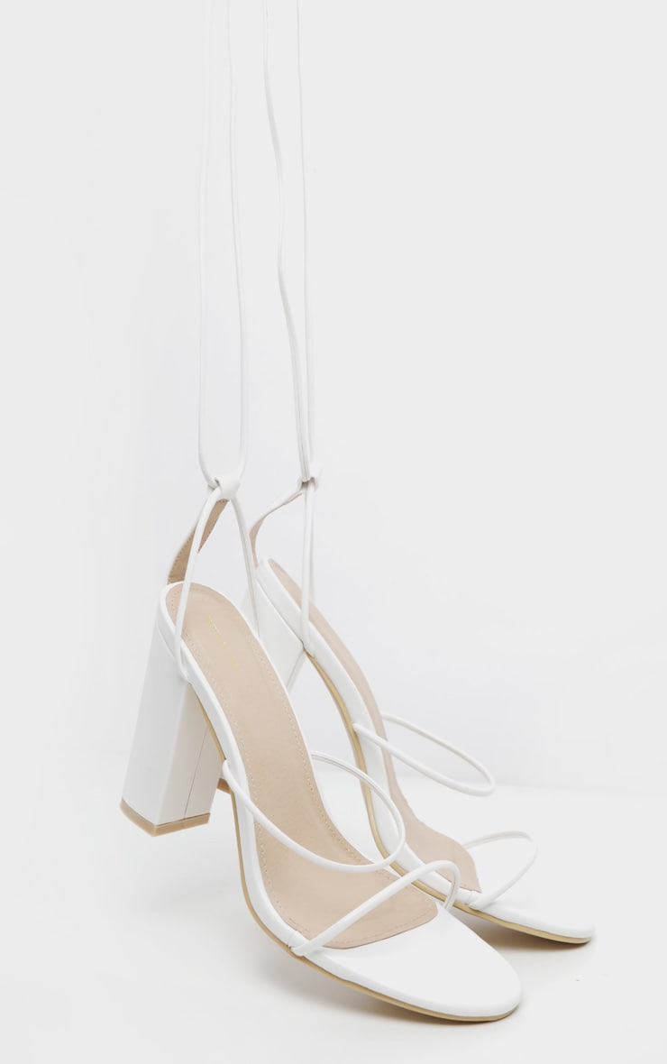 White Delicate Strap Block Heel Ankle Tie Sandal 3