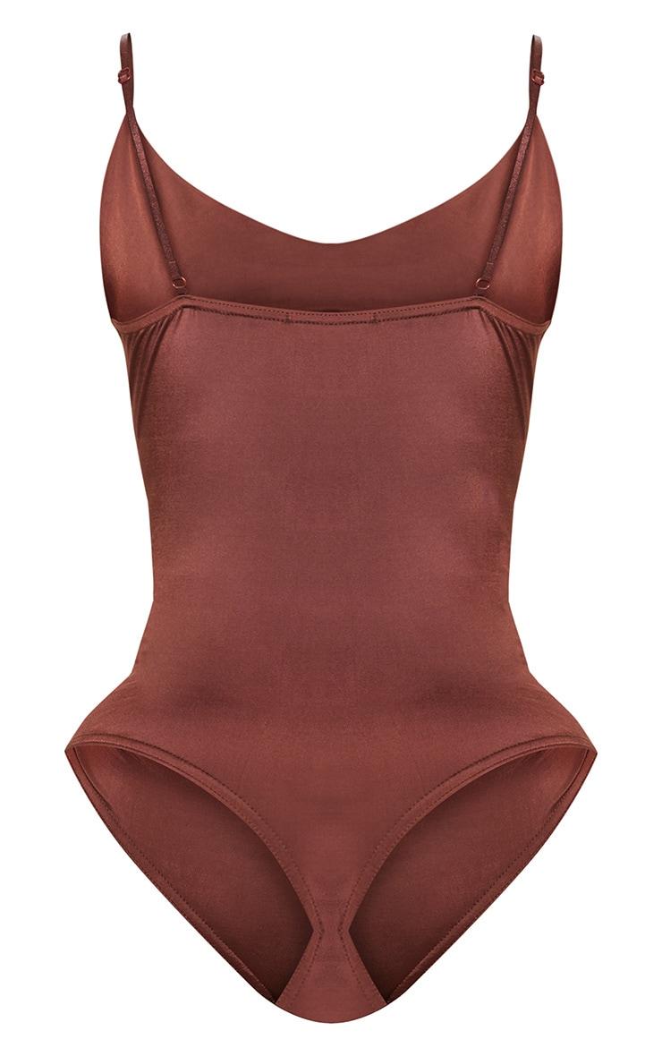 Shape Chocolate Brown  Slinky Cowl Neck Bodysuit 4