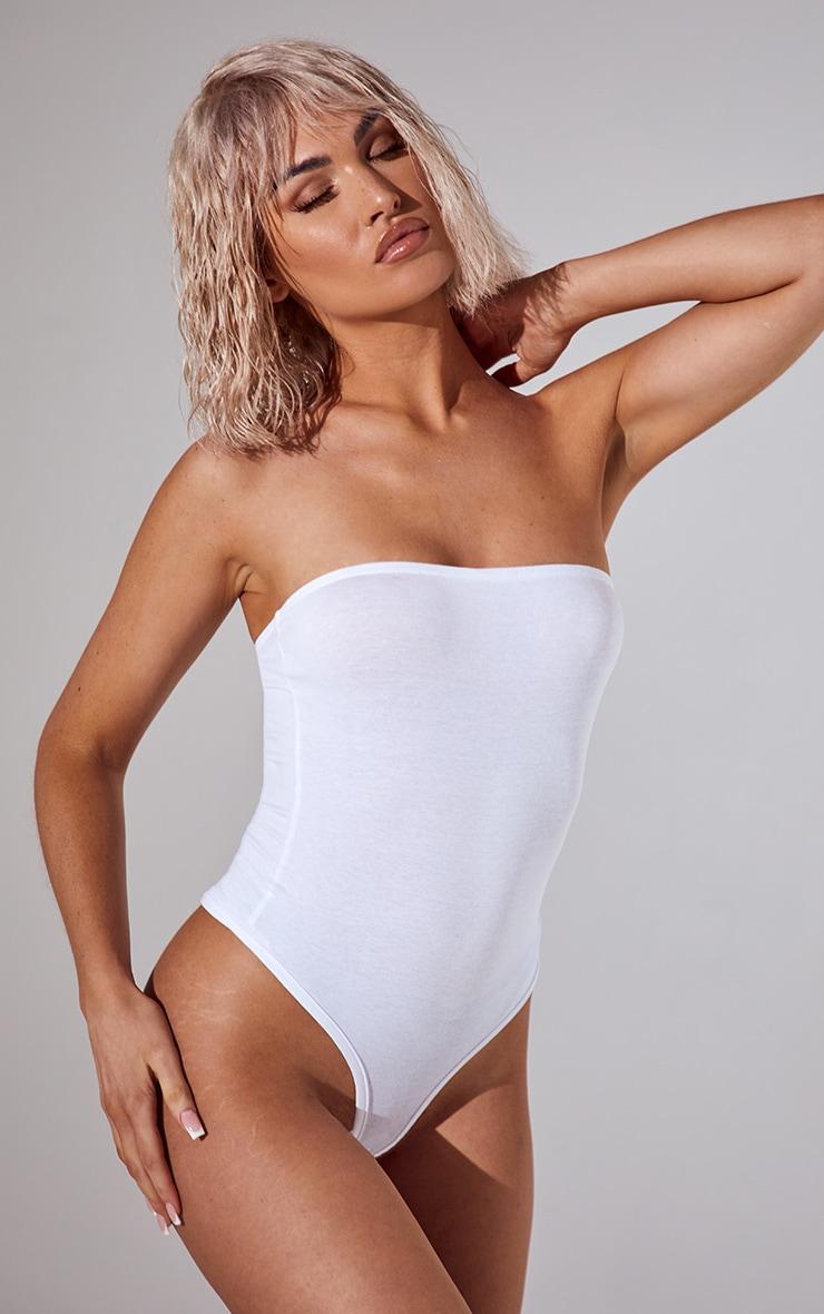 Basic White Cotton Blend Bandeau Bodysuit 2