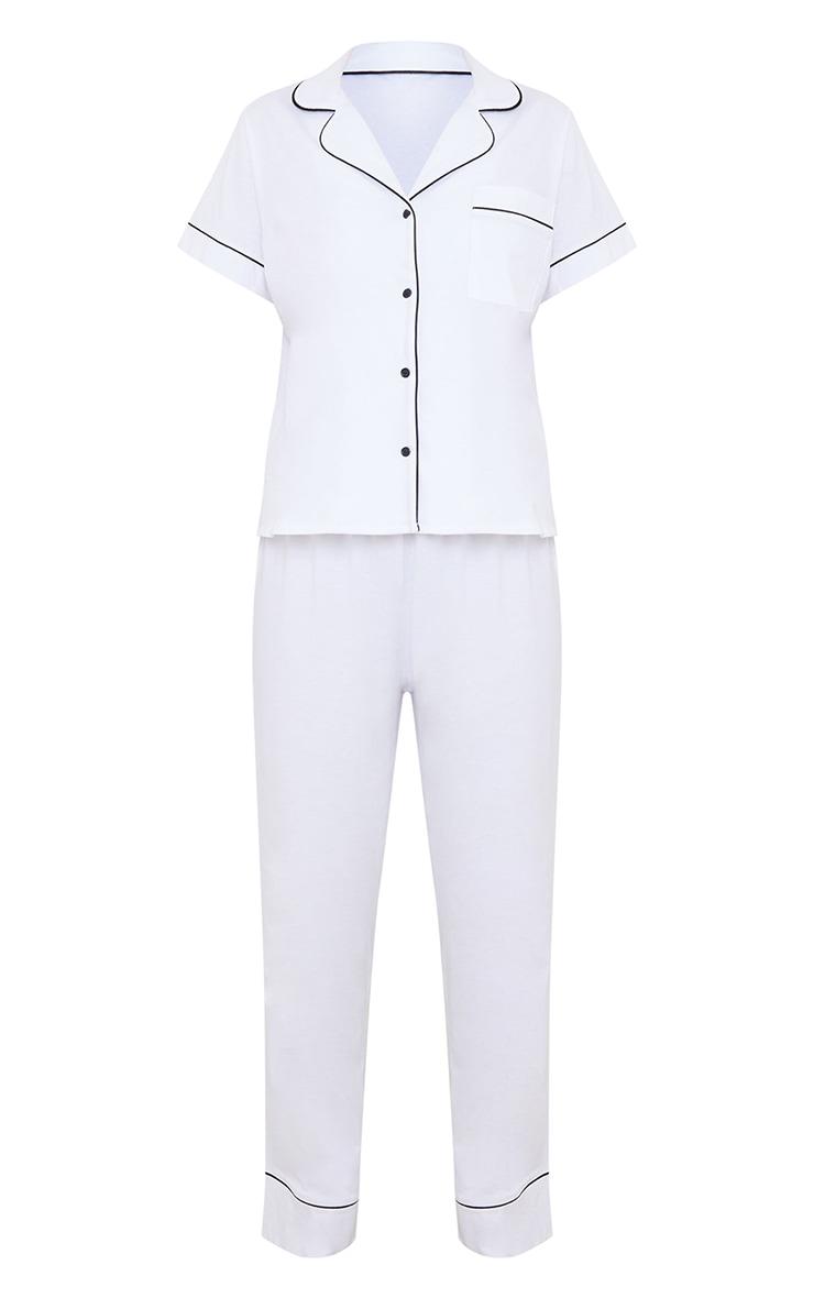 White Jersey Button Down Long Set 5