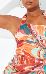 Multi Marble Mesh Halterneck Corset Detail Gathered Skirt Midaxi Dress 4