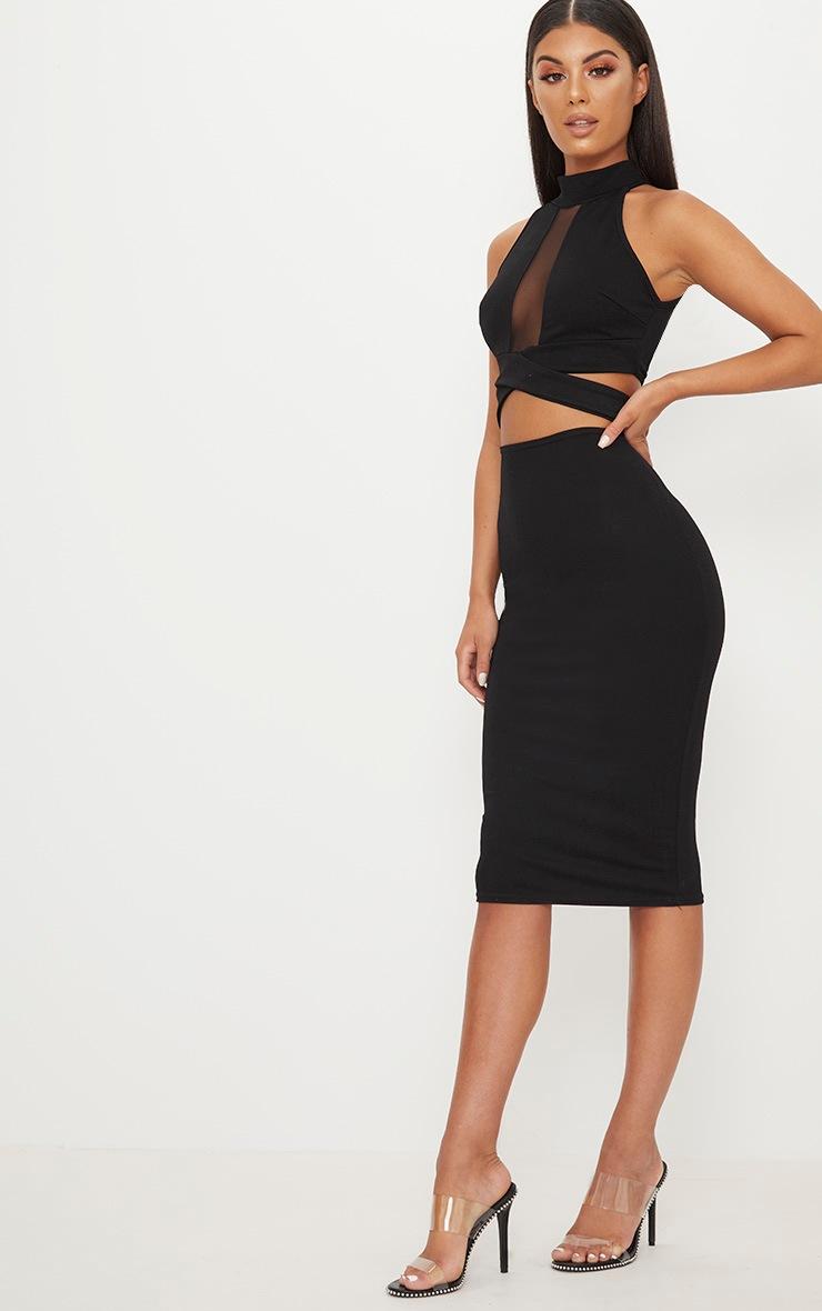 Black High Neck Cross Strap Mesh Panel Midi Dress