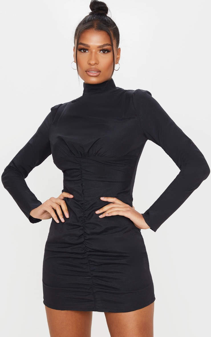 Black High Neck Ruched Front Bodycon Dress 1