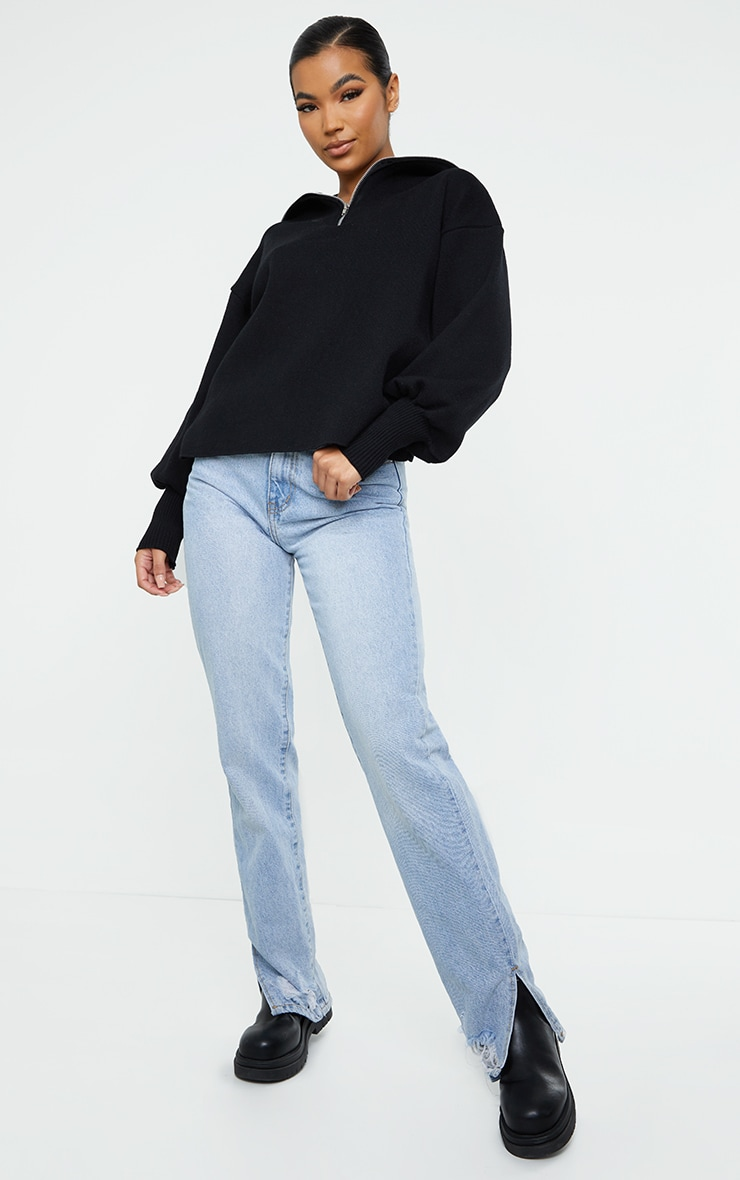 Black Zip Up Slouchy Knitted Balloon Sleeve Sweater 3