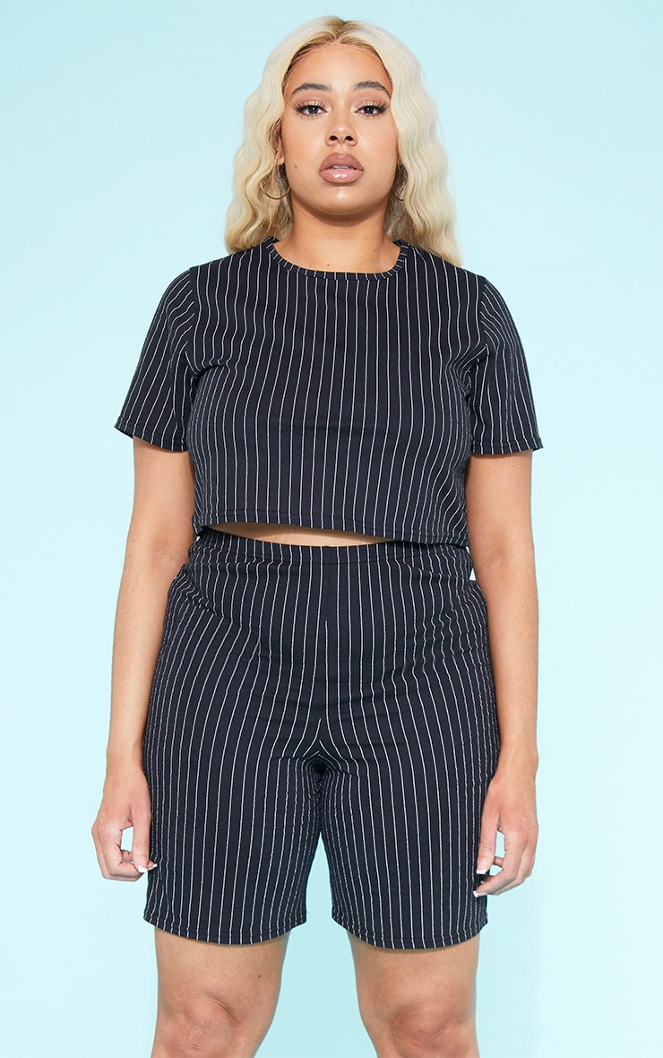 RECYCLED Plus Black Pinstripe Crop T Shirt 1