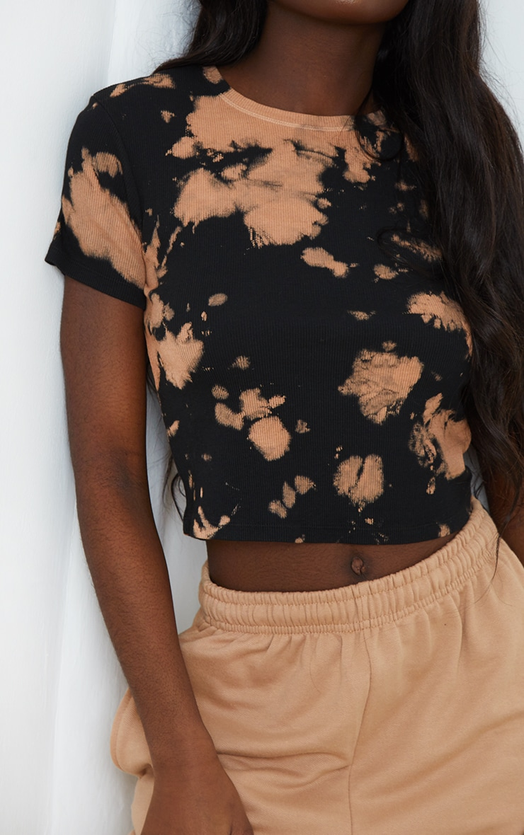 Brown Tie Dye Ribbed T Shirt 3
