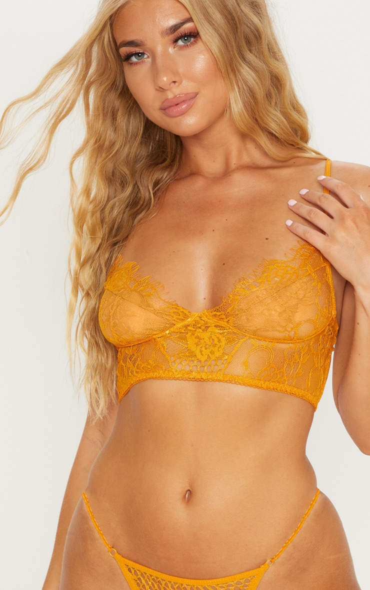 Mustard Fishnet And Lace Lingerie Set 5