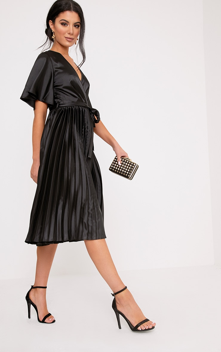 Mairee Black Satin Pleated Midi Dress 4