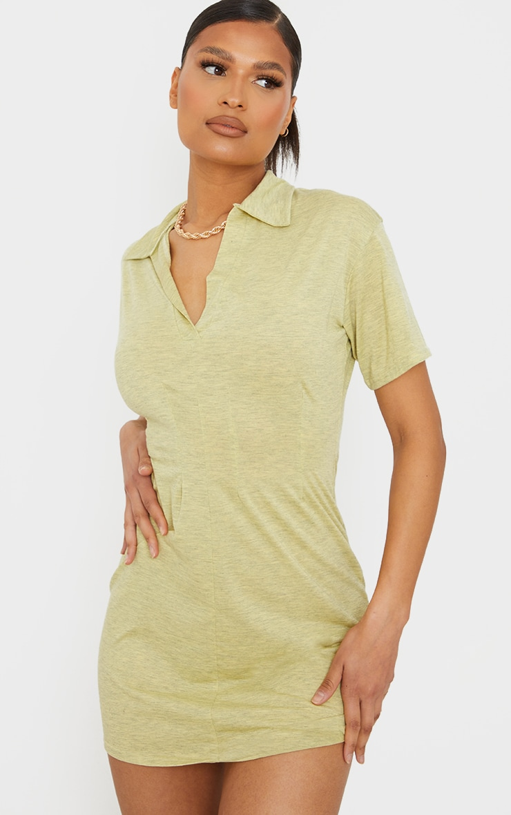 Yellow Marl Polo Collar Pleated Detail Shift Dress 1