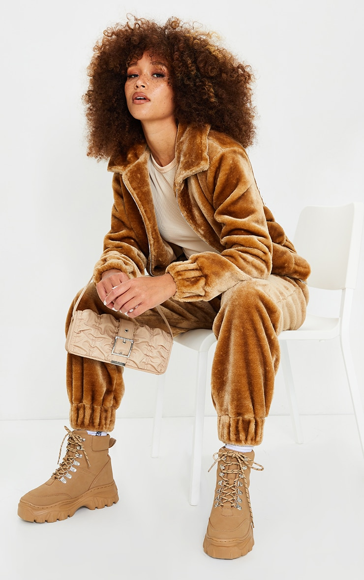 Camel Faux Fur Zip Detail Jacket 4