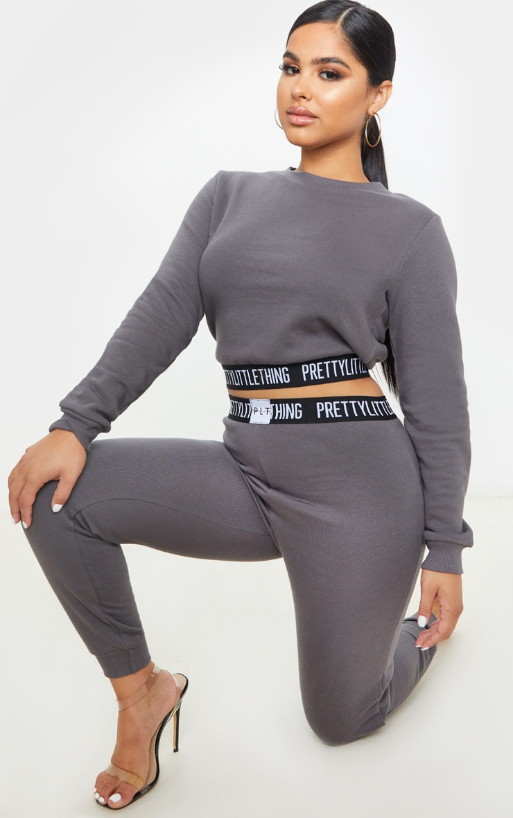PRETTYLITTLETHING Petite Charcoal Lounge Sweat 4