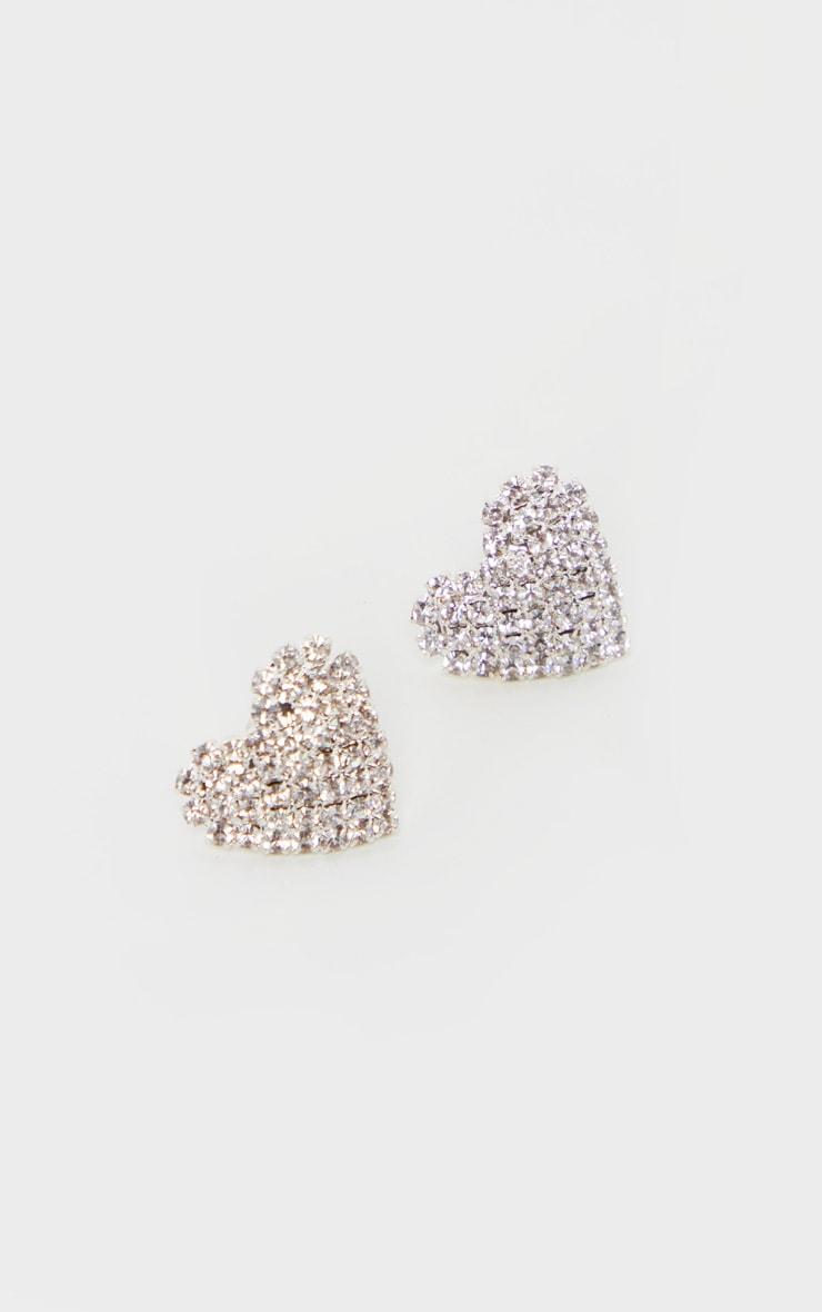 Silver Diamante Heart Stud Earrings 2