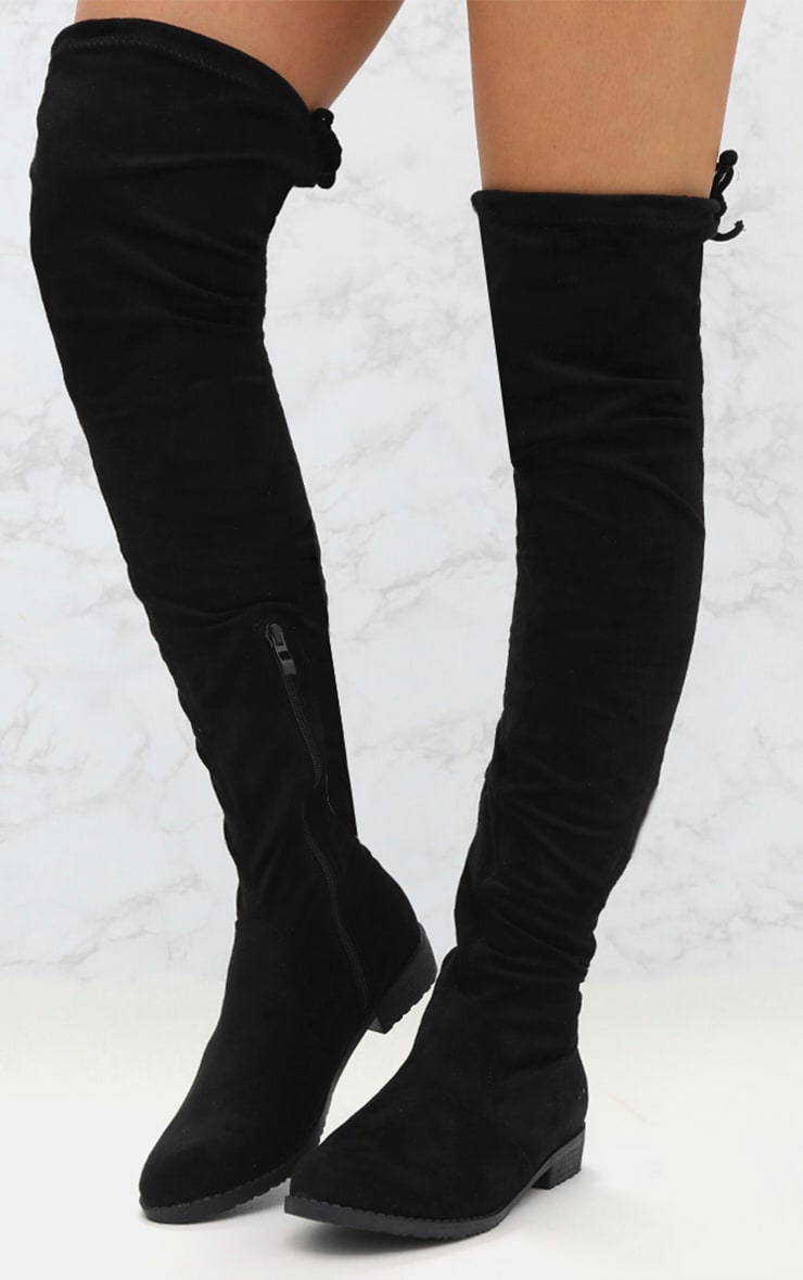 Black Suede Flat Thigh High Boot 2