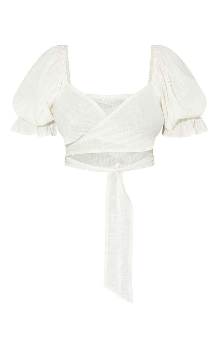 White Tie Front Linen Feel Crop Top 5