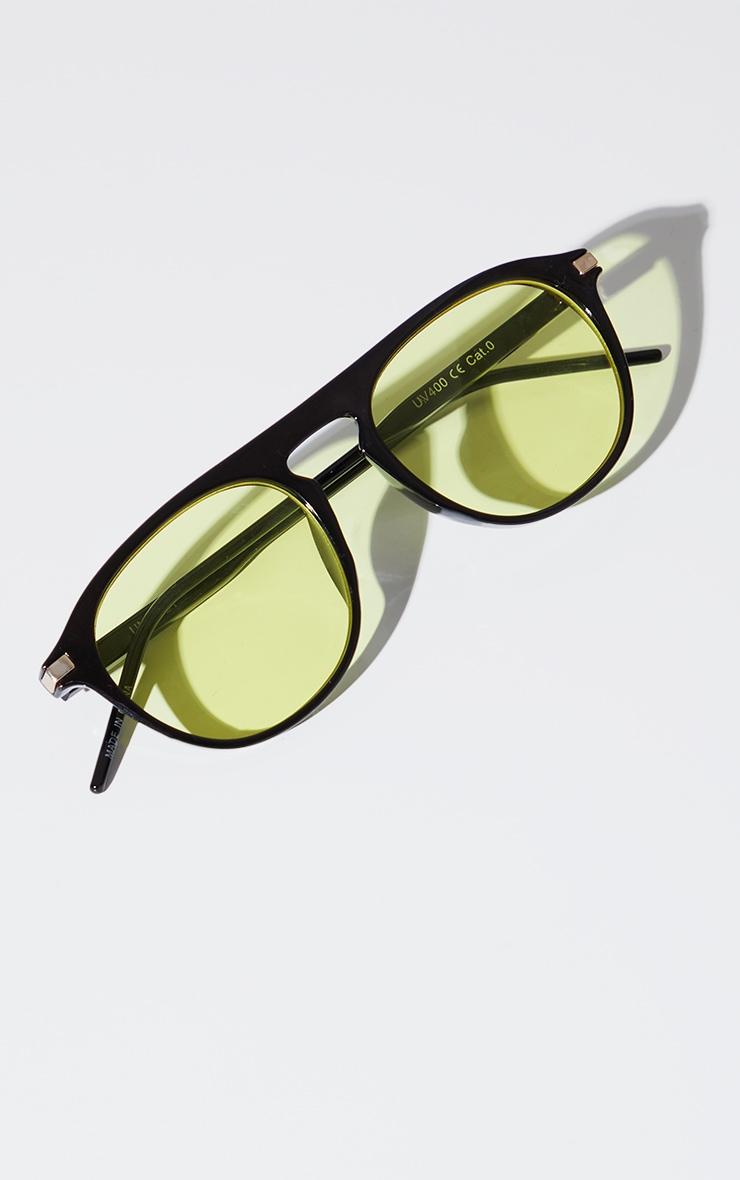 Yellow Lens Round Black Frame Sunglasses 3