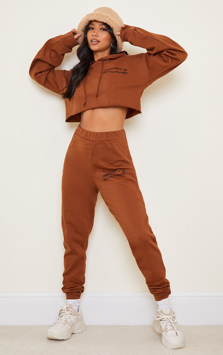 PRETTYLITTLETHING Petite Chocolate Cropped Hoodie 3