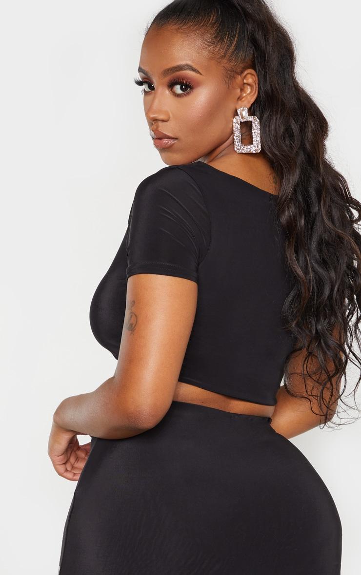 Shape Black Slinky Scoop Neck Short Sleeve Crop Top 2