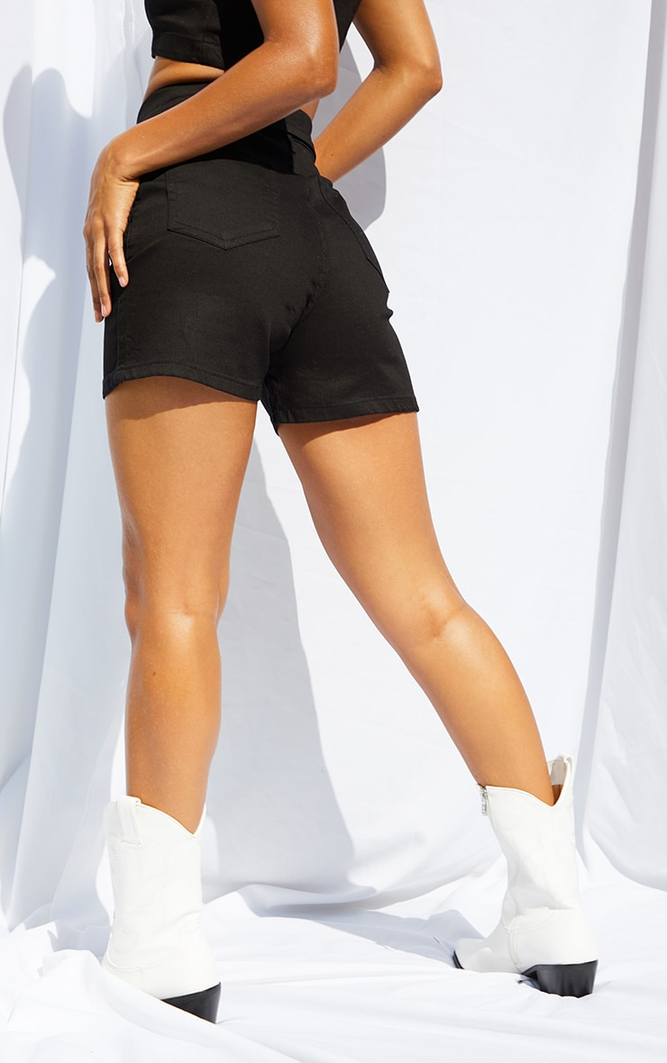 Black Front Button Up High Waisted Denim Shorts 3