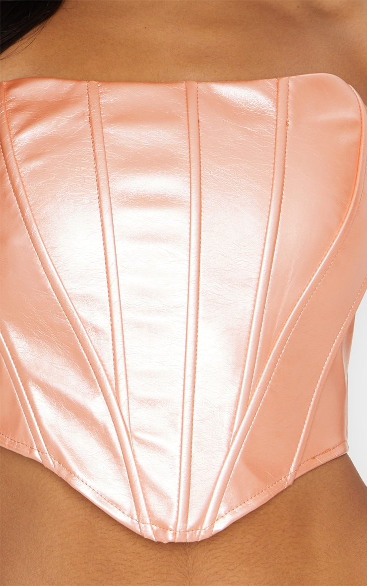 Rose Gold Metallic PU Curved Hem Cropped Corset 4