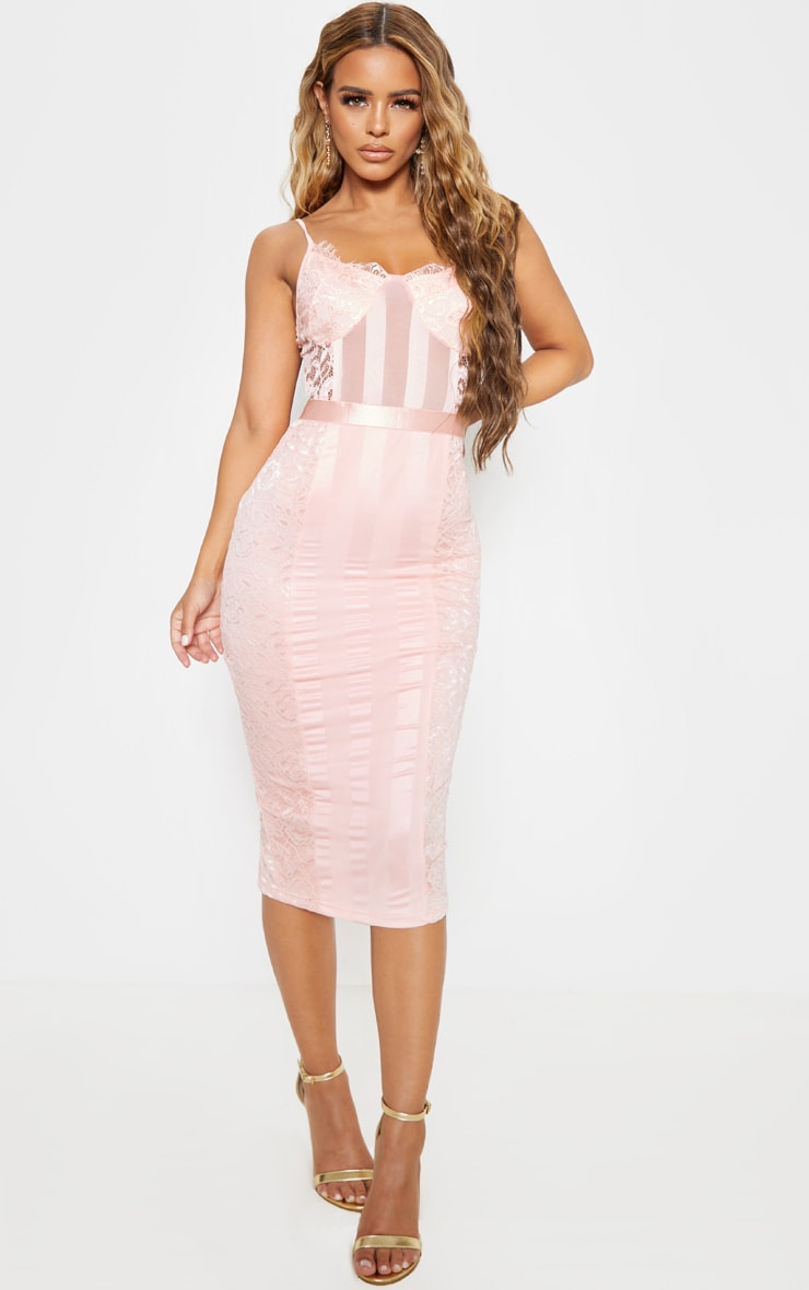Petite Pink Lace Lined Midi Dress  1