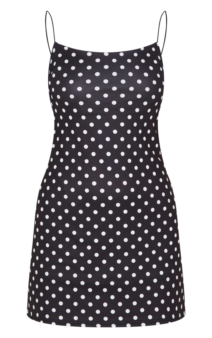 Black Polka Dot Print Strappy Scuba Shift Dress 3