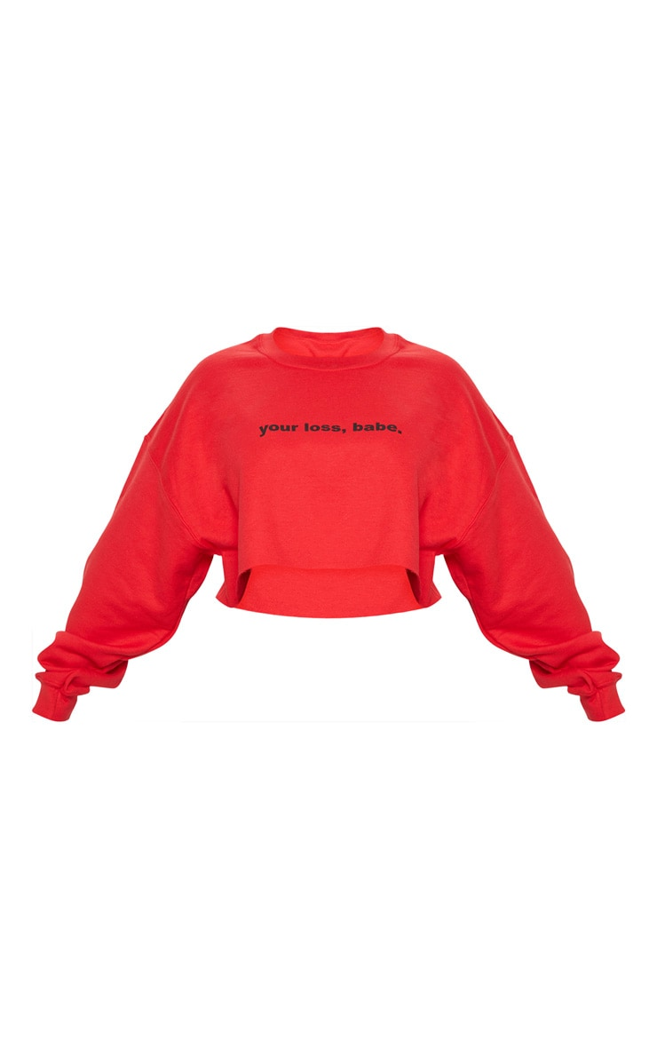 Plus Red Your Loss Babe Cropped Sweater 3