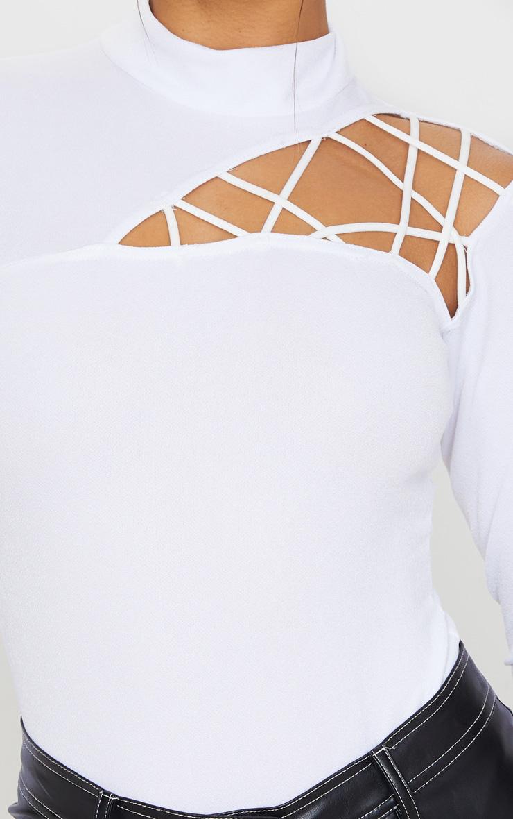 White Cut Out Detail Crepe Bodysuit 6