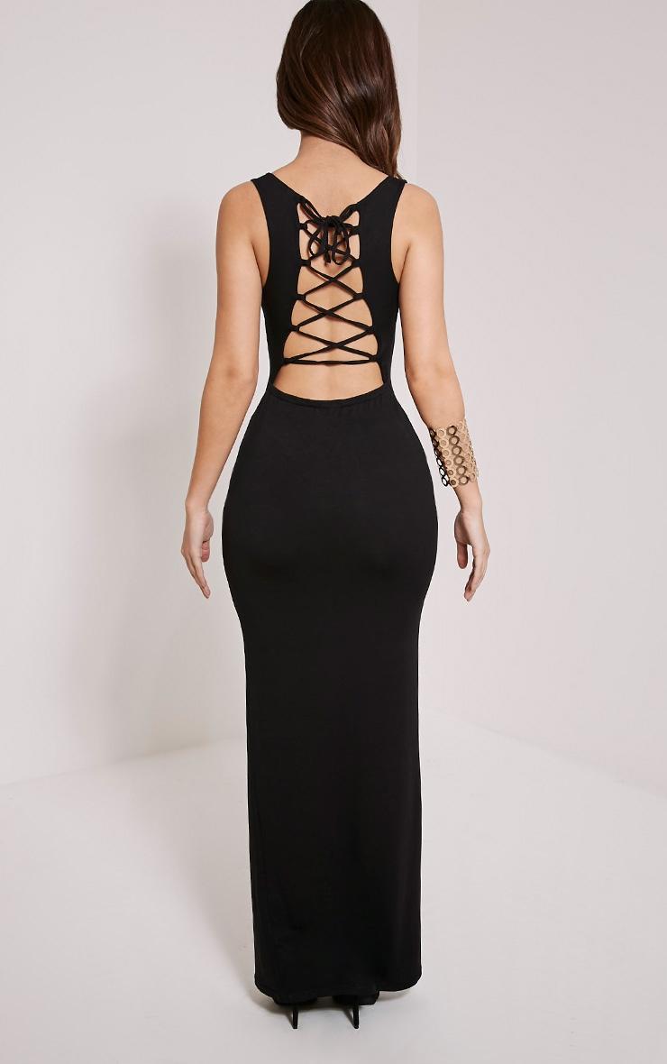 Jamaia Black Lace Up Back Maxi Dress 2