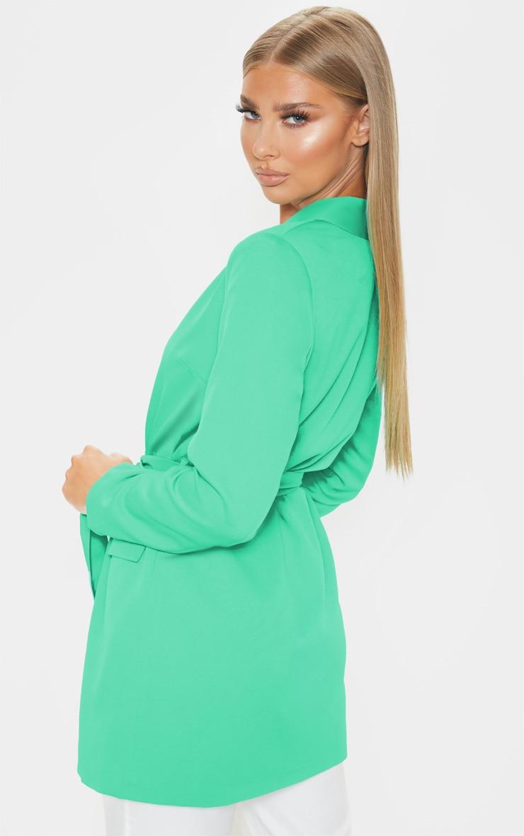 Green Belted Longline Woven Blazer    2