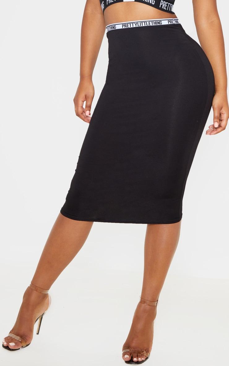 PRETTYLITTLETHING - Jupe mi-longue en jersey noir à liseré 2