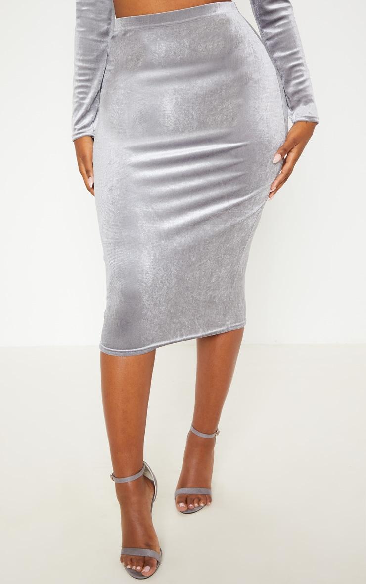 Shape Silver Velvet Midi Skirt Prettylittlething Ie