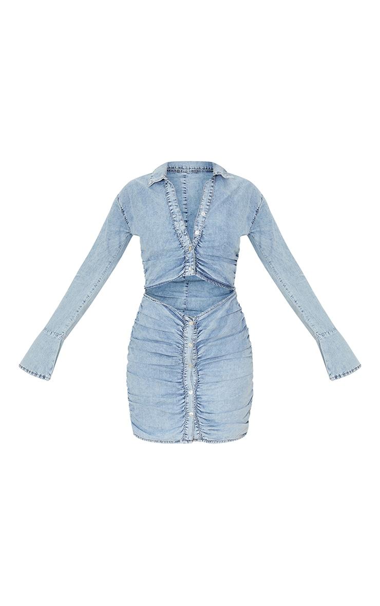 Acid Blue Wash Ruched Cut Out Waist Chambrey Dress 5