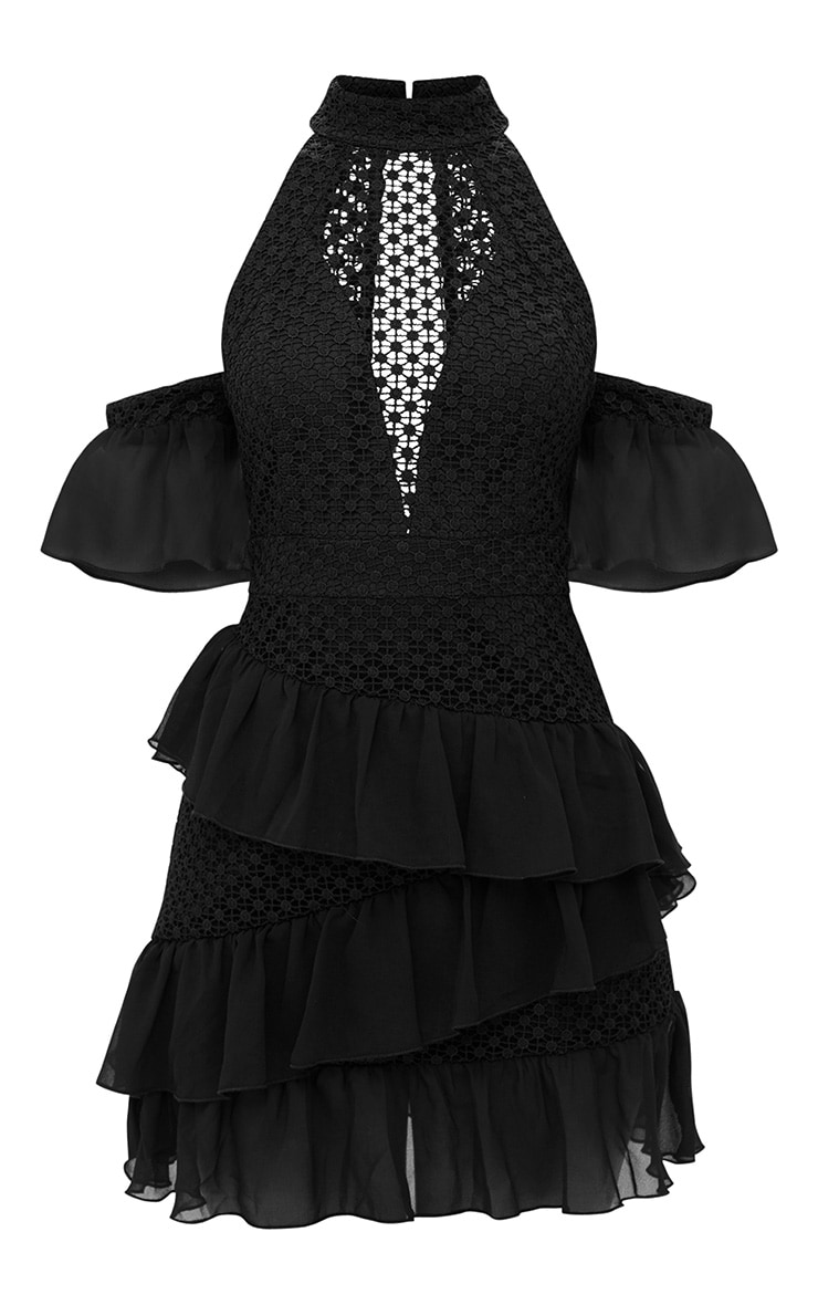 Black Crochet Mesh Frill Detail Bodycon Dress 3