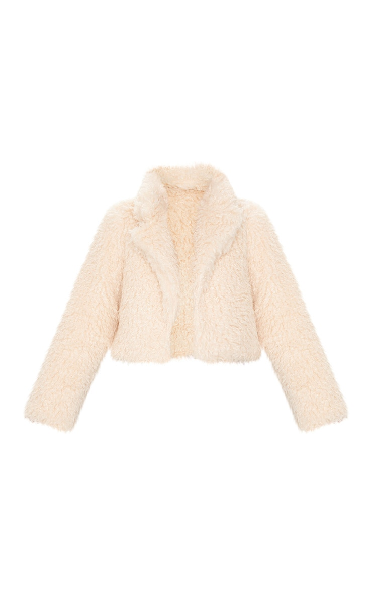 Stone Teddy Faux Fur Cropped Jacket  3